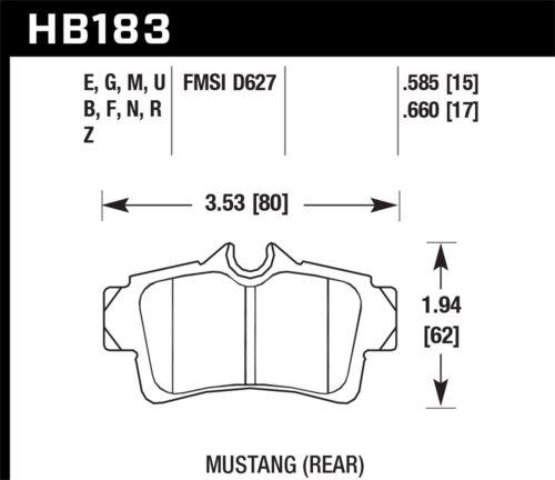 Disc Brake Pad Set-Base Rear Hawk Perf HB183F.660 fits 99-03 Ford Mustang
