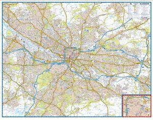 Map Of Arizona Hospitals.Glasgow Premier Map By A Z Maps Wall Map Paper Ebay