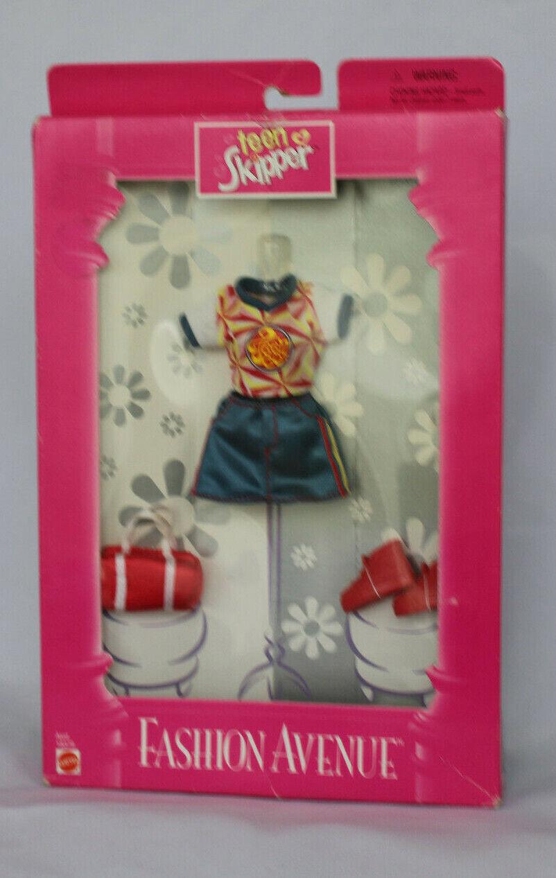 1998 Barbie Teen Skipper Fashion Avenue Clothes Set Bag Sneakers 23133 Mattel