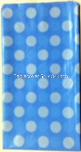 6 Polka Dot Plastic table Cover Rectangular 54 x 84 Inch Tablecloth-U Pick Color