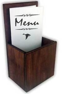Details About Wooden Takeaway Menu Holder Leaflet Table Top Pocket Dark Stain Bar Restaurant