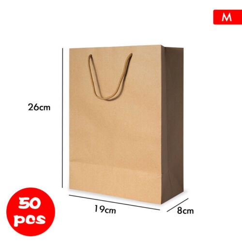 Kraft Paper Bags 50xBulk Gift Shopping Carry Craft Brown Bag with Handles 7 Size