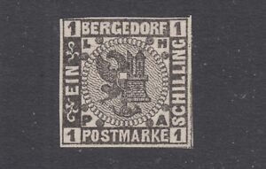 Bergedorf-Sc-2-MNH-1861-1s-black-Coat-of-Arms-VF-Germany