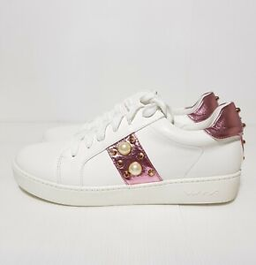New Vices Women's Shoes Lace Up Sneakers White Studs Pearl EU 40 / US 9 / UK 6.5