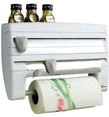 Metaltex Roll-n-Roll 4-In-1 Kitchen Roll Holder Dispenser, White