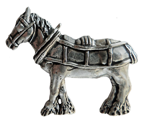 Horse Head and Whip Equestrian Pewter Pin Badge Hand Made in Cornwall