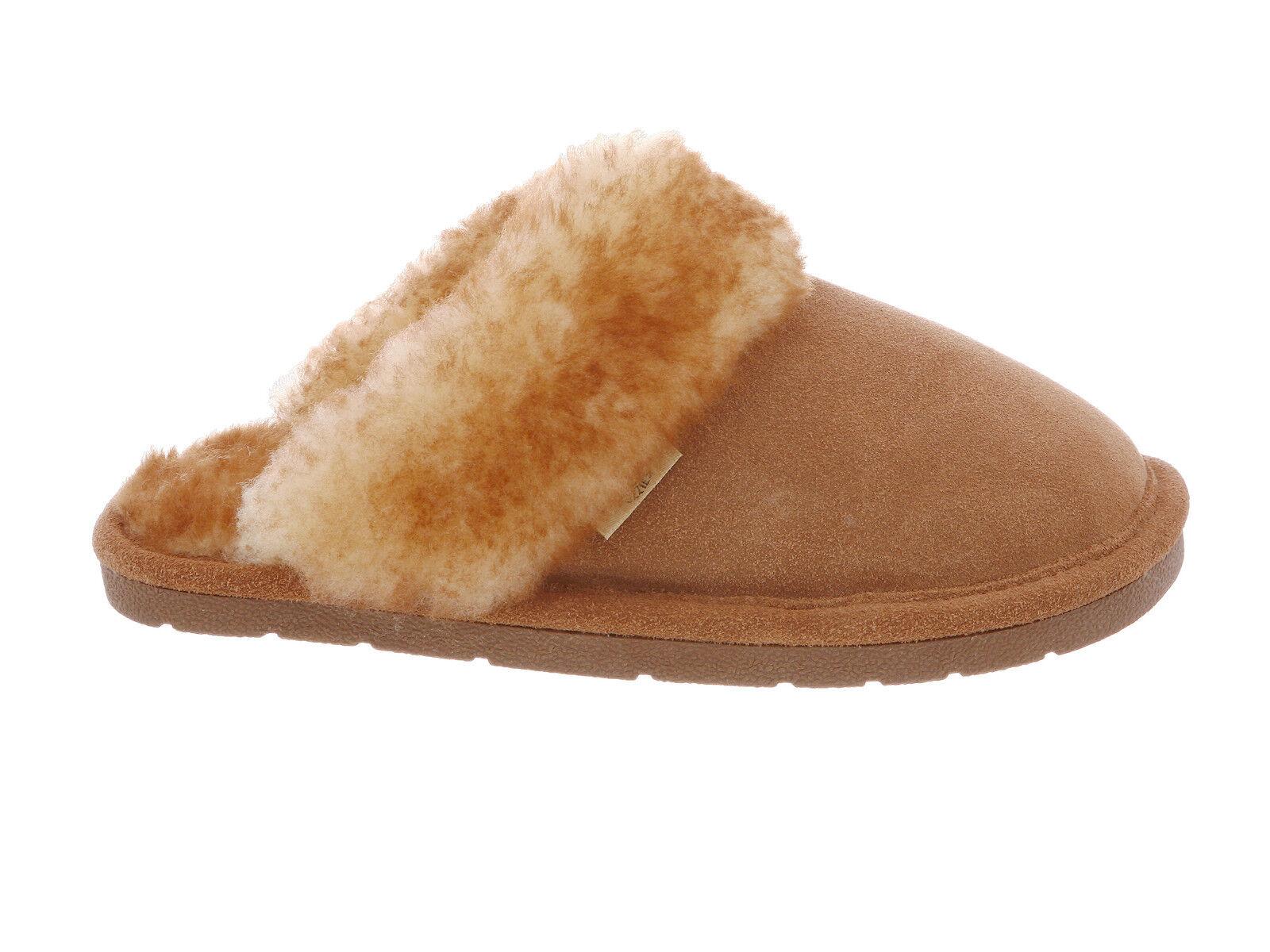 Rj's Cloud Nine Genuine Sheepskin Ladies Scuff Slippers Chestnut Medium (M, B)
