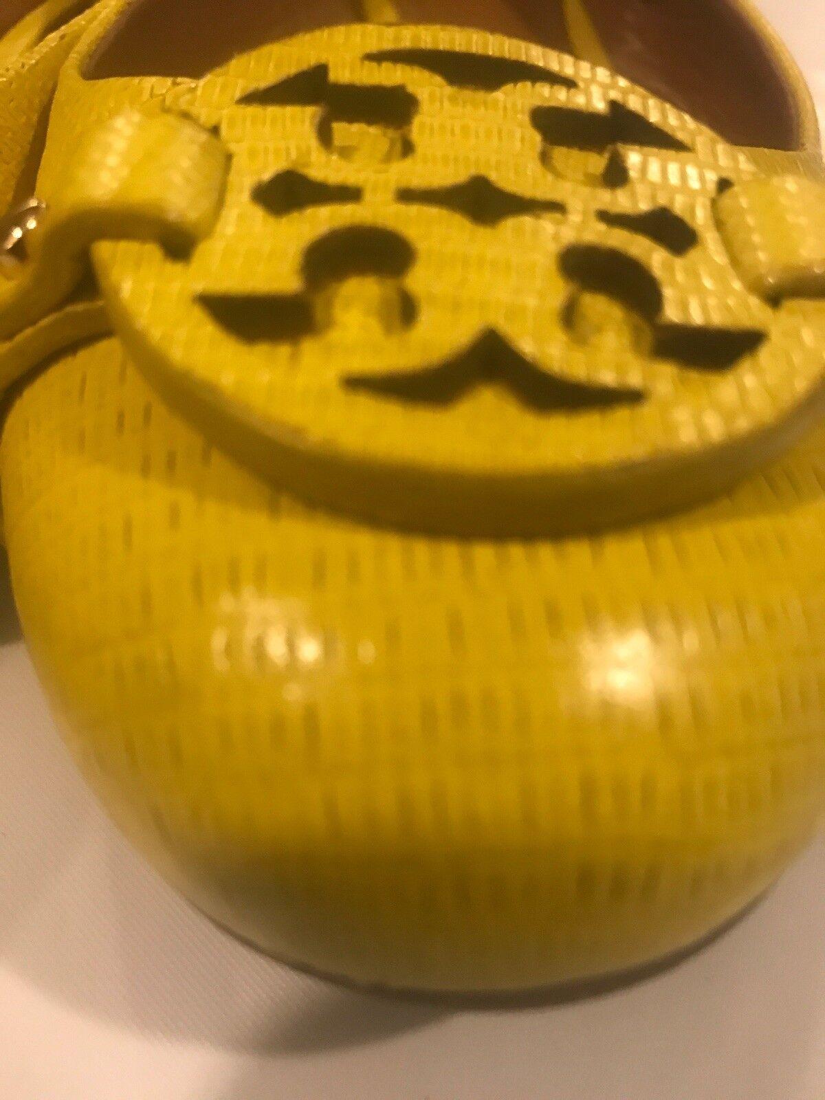 Zapatos De Cuero Tory Burch 34277 Amarillo Abby Ballet Volteado 10.5 Talla Talla 10.5 Volteado 4daa2a