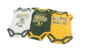 Oakland-Athletics-MLB-Baby-Infant-Size-Girls-3-Piece-Creeper-Bodysuit-Set-New