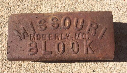 "MO/"" SIDEWALK STREET PAVER BRICK BLOCK BUILDER 3 ANTIQUE /""MISSOURI BLOCK MOBERLY"