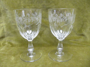 2-verres-de-mariage-cristal-1900-roses-Therese-et-jean-marriage-crystal-glasses