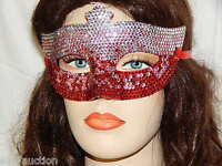 Party Rhinestone Crystal Masquerade Silver / Red Mask Costume