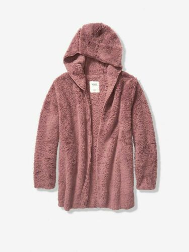 Victoria's Secret PINK Sherpa Hooded Cardigan Hoodie Jacket M//L Great Gift NEW