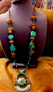 Unique-Solid-Brass-Amber-Turquoise-amp-Coral-Rare-Pendant-amp-Necklace-147