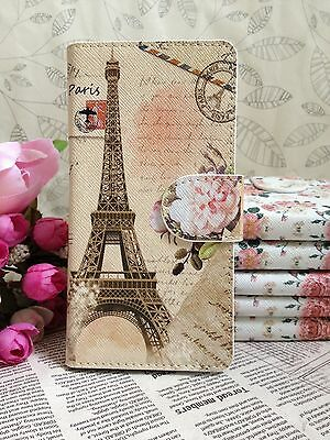 New flower Eiffel Tower PU Leather Cover Case For HTC Samsung Sony Alcatel ACER