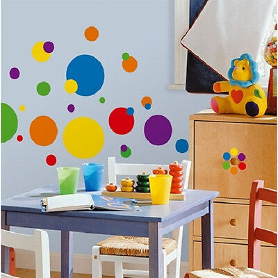 CIRCLES POLKA DOTS wall stickers 31 big decals colorful room decor red blue
