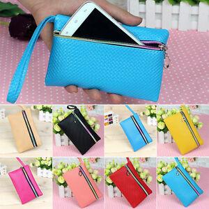 Womens-Men-Card-Holder-Wallet-Coin-Purse-Clutch-Zipper-Leather-Change-Phone-Bag