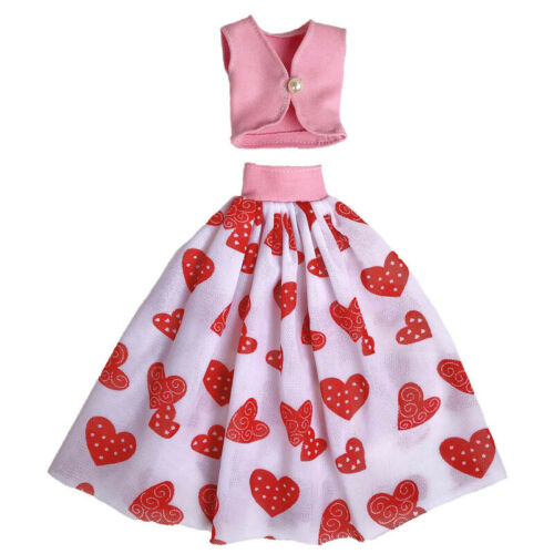 "Pink Love Fashion Doll Clothes For 11.5/"" 1//6 Doll Outfits Pink Top /& Midi Skirt"