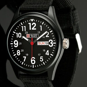 Military-Royale-Mens-Watch-Quartz-Black-Stainless-Steel-Fabric-Date-Display-Army