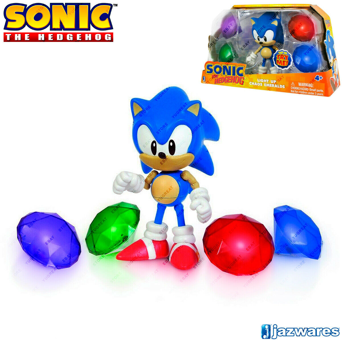 SONIC The Hedgehog 65910 Sonic Light Up Chaos Emeralds, Collection Figure