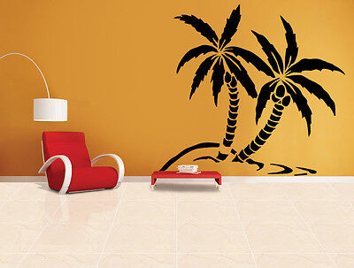 Palm Trees on Beach Vinyl Wall Art Sticker Decal in Various Colors + FREE P&P UK
