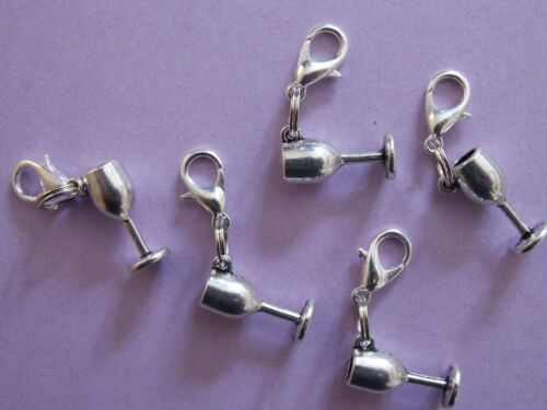 GOBLET CHALICE CUP silver tone charm clip on lobster clasp for charm bracelets