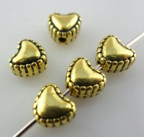 40//120pcs Tibetan silver Gold Love heart Loose Spacer Beads 4*6*5.5mm