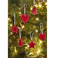 S/18 Vintage Wooden Christmas Tree Star Heart Hanging Bauble Xmas Decorations