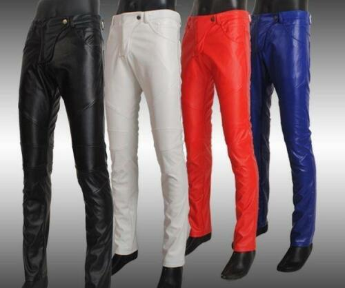 Stylish Mens Pu Leather slim Fit Trousers Punk Rock Motorcycle pants Skinny NEW