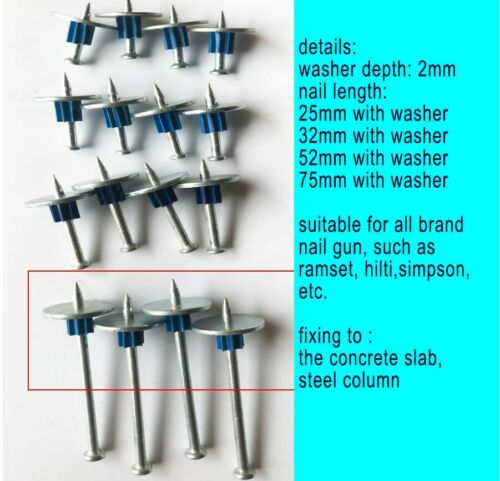 75MM CONCRETE & STEEL DRIVE PINS WITH WASHER SINGLE SHOT SUITABLE TO MOST GUNS