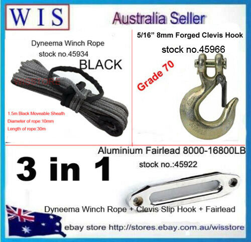 10mm x 30m BLK Synthetic Winch Rope& Aluminum Hawse Fairlead & G70 Clevis Hook