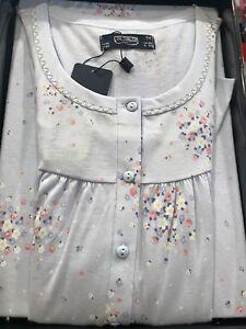 in vendita f5b4c 17b80 Dettagli su LINCLALOR Camicia da notte 100 % cotone mezza manica taglie  forti azzurra
