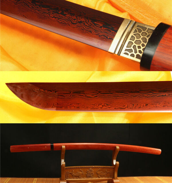 40'DAMASCUS FOLDED STEEL CLAY TEMPERED RED ROSEWOOD JAPANESE KATANA SWORD