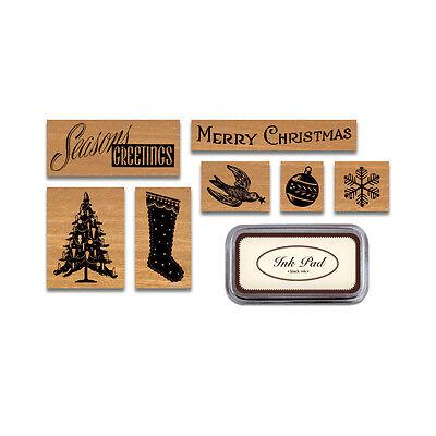 Cavallini Boîte de 7 Tampons En Caoutchouc Noël Vacances HOL Black Ink Coussinet