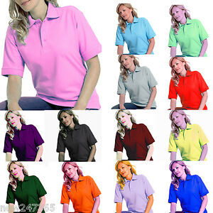 Ladies-Polo-Shirt-Size-UK-8-to-26-Plus-Pique-T-Shirt-All-Colours-NEW-UK-STOCK