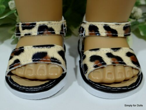 """**SALE** TAN /& BROWN Leopard Print DOLL SANDALS SHOES fit 18/"""" AMERICAN GIRL DOLL"""