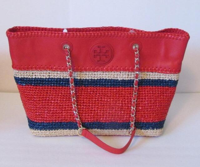 8dacfc1cdab5 Tory Burch Marion crochet straw tote Ruby Jewel red navy bag chain east west