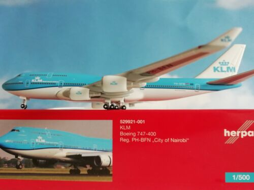 "Herpa Wings 1:500 529921-001 KLM b747-400 /""City of Nairobi/"" PH-BfN"