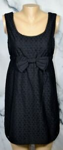 JUICY-COUTURE-Black-Eyelet-Sleeveless-Babydoll-Dress-with-Bow-4-Lined-Cotton-Bld