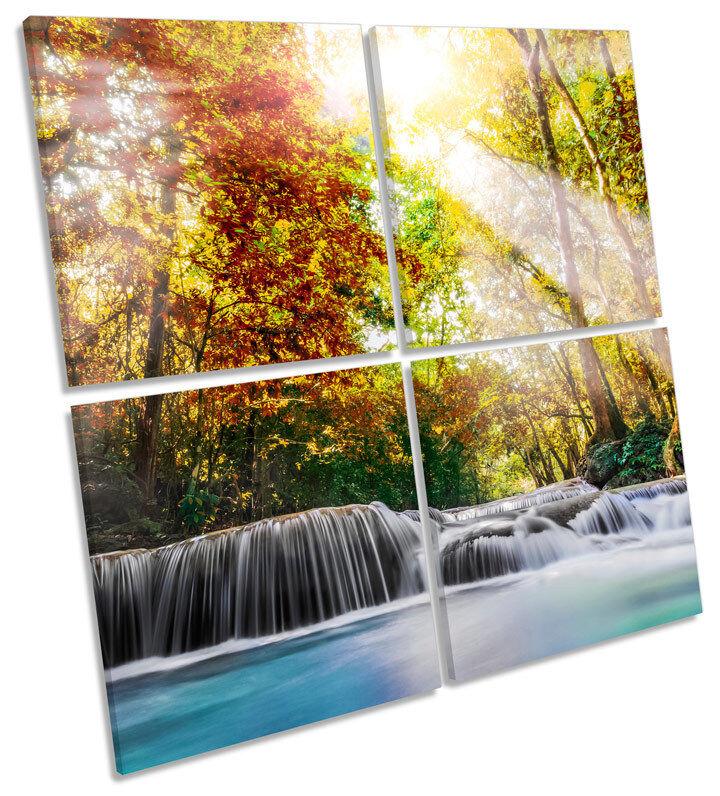 SUNSET paesaggio fiume foresta Multi Multi Multi Tela Wall Art SQUARE Stampa 413167