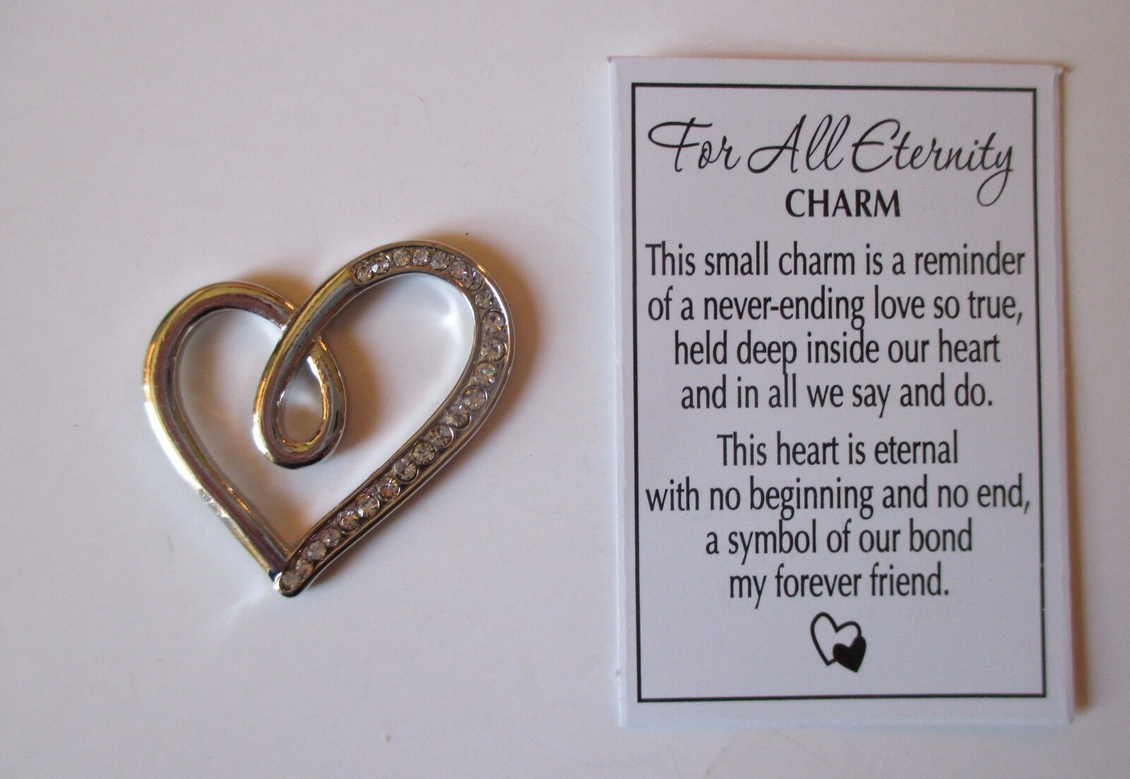 V Silver For All Eternity Pocket Token Charm Metal True Love Heart