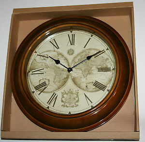 Wall clock old world map antique style bronze case 31cm ebay image is loading wall clock old world map antique style bronze gumiabroncs Images