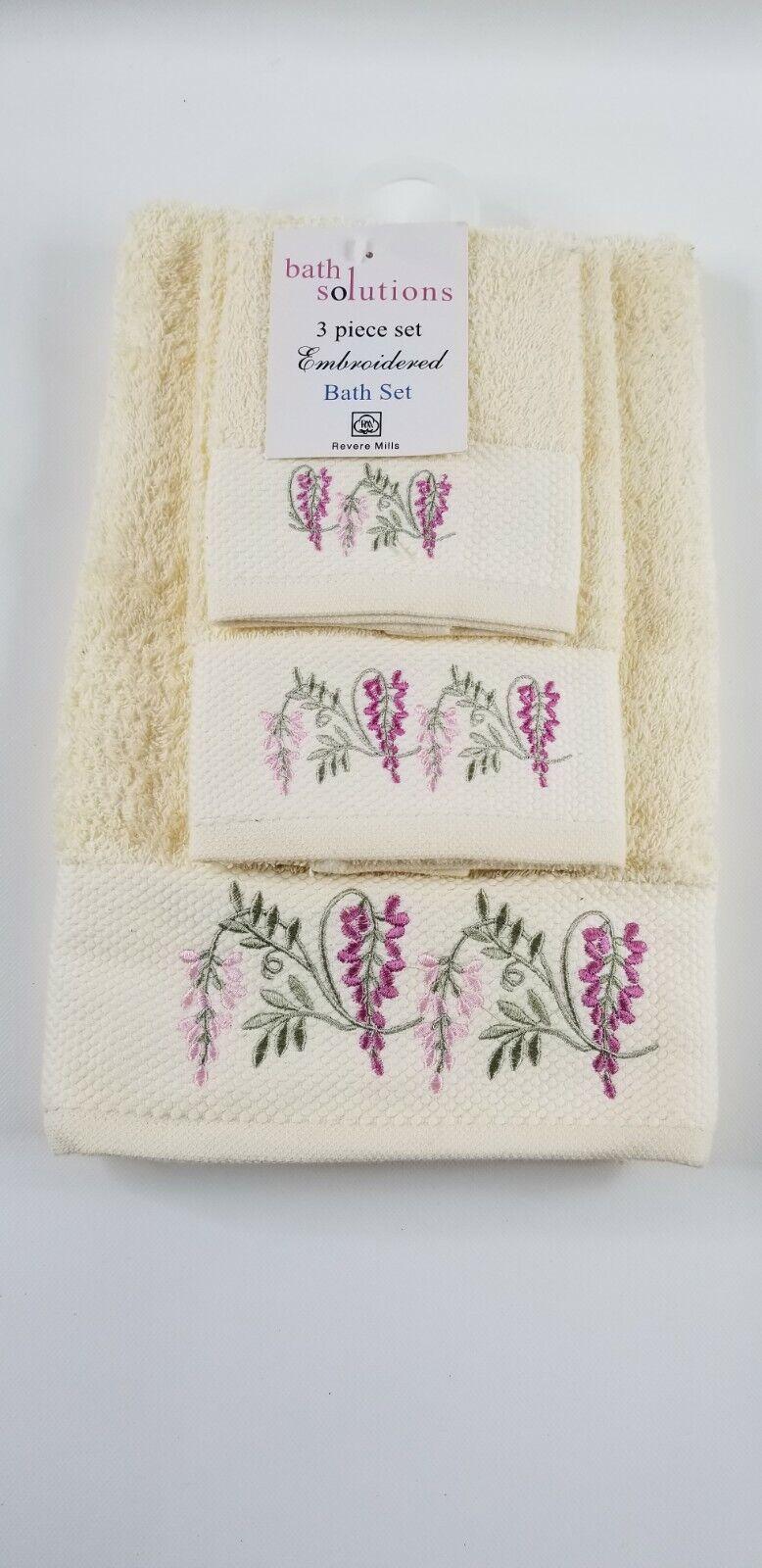 Revere Mills Cream Wisteria Flower Embroidered 3 Piece Bath Towel Set Cotton