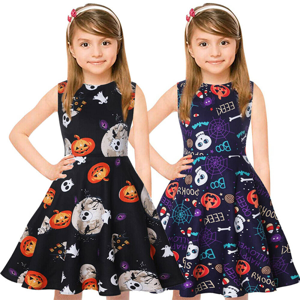 Girls Sleeveless Summer Vintage Print Swing Party Dresses 3-12 Years