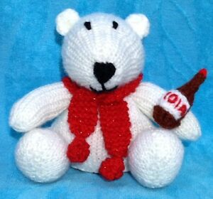 14 cms toy KNITTING PATTERN Good Luck Care Bear inspired choc orange cover
