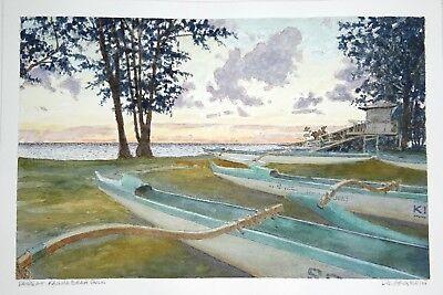 Original Hawaii Watercolor Painting Dawn Kailua Beach Park By L Segedin 89 Ebay