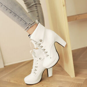 New-Women-Lace-Up-Ankle-Boots-Round-Toe-High-Heels-Platform-Shoes-Military-Punk