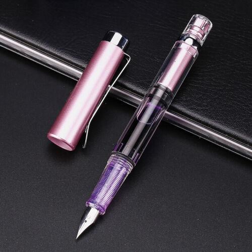 Penbbs 494 Transparent Piston Fountain Pen Clear Demonstrator Ink Pen HOT--AA