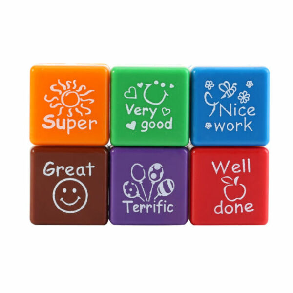 5pcs Teacher Stamps for School,Self-Inking Rubber Stamps School Stamps for Kids Education Teachers Review School Prizes