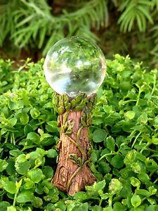 Miniature-Dollhouse-FAIRY-GARDEN-Gazing-Ball-Pick-w-Clear-Glass-amp-Vine-Detail